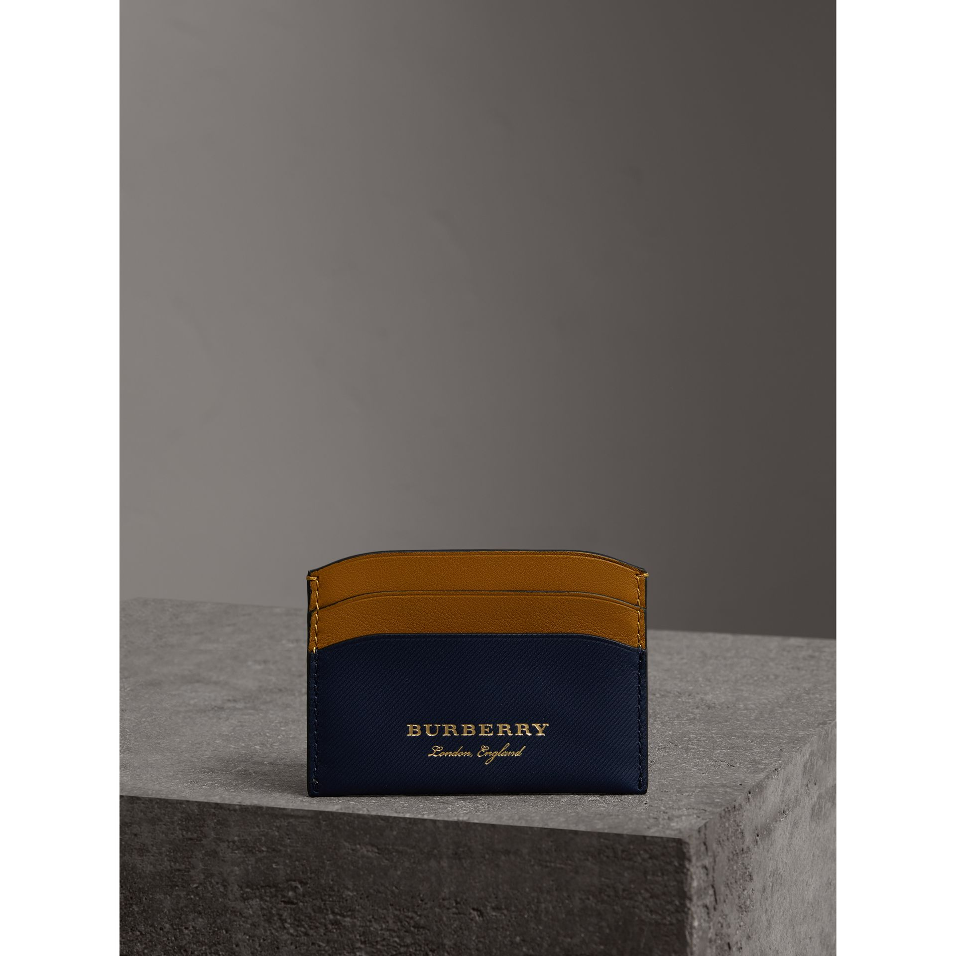 Two-tone Trench Leather Card Case in Ink Blue/ochr Yellow | Burberry - gallery image 3
