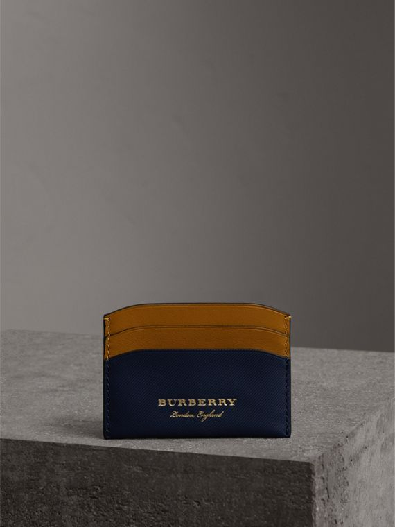 Two-tone Trench Leather Card Case in Ink Blue/ochr Yellow | Burberry Singapore - cell image 3