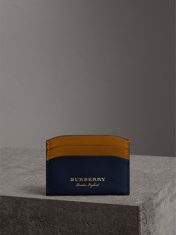 Two-tone Trench Leather Card Case in Ink Blue/ochr Yellow | Burberry - cell image 3
