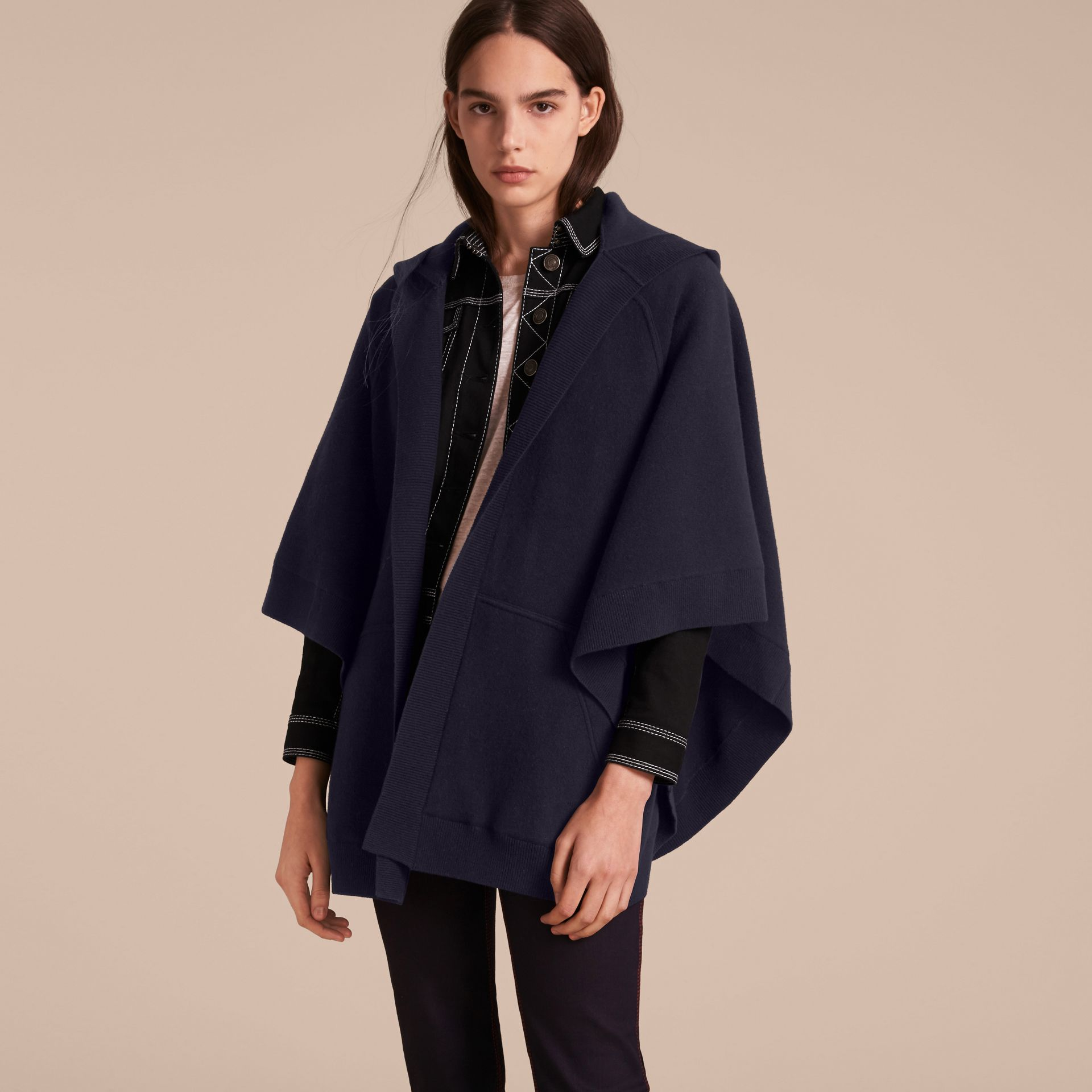 Wool Cashmere Blend Hooded Poncho in Navy/black - Women | Burberry - gallery image 6