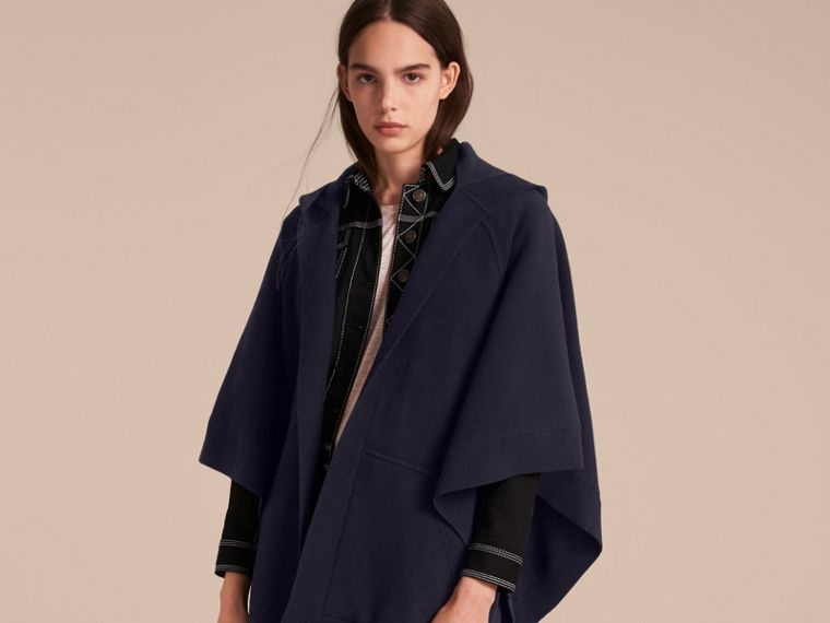 Wool Cashmere Blend Hooded Poncho in Navy/black - cell image 4