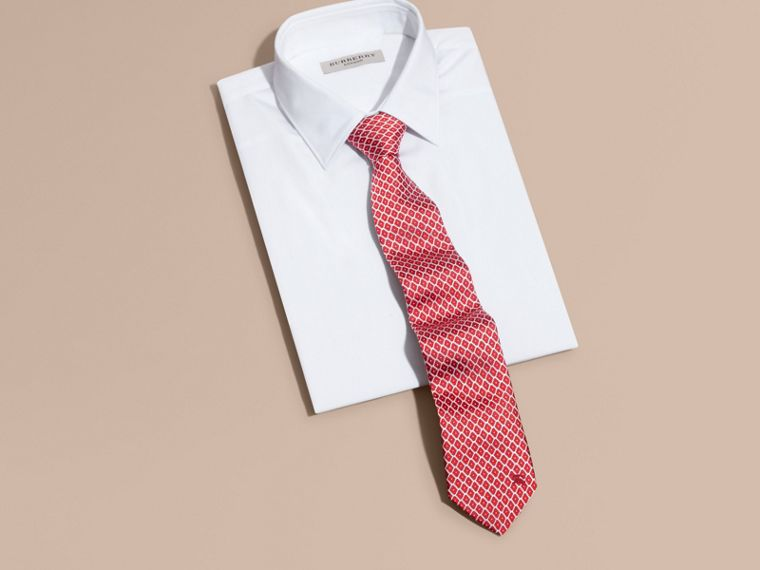 Parade red Modern Cut Silk Jacquard Tie Parade Red - cell image 2