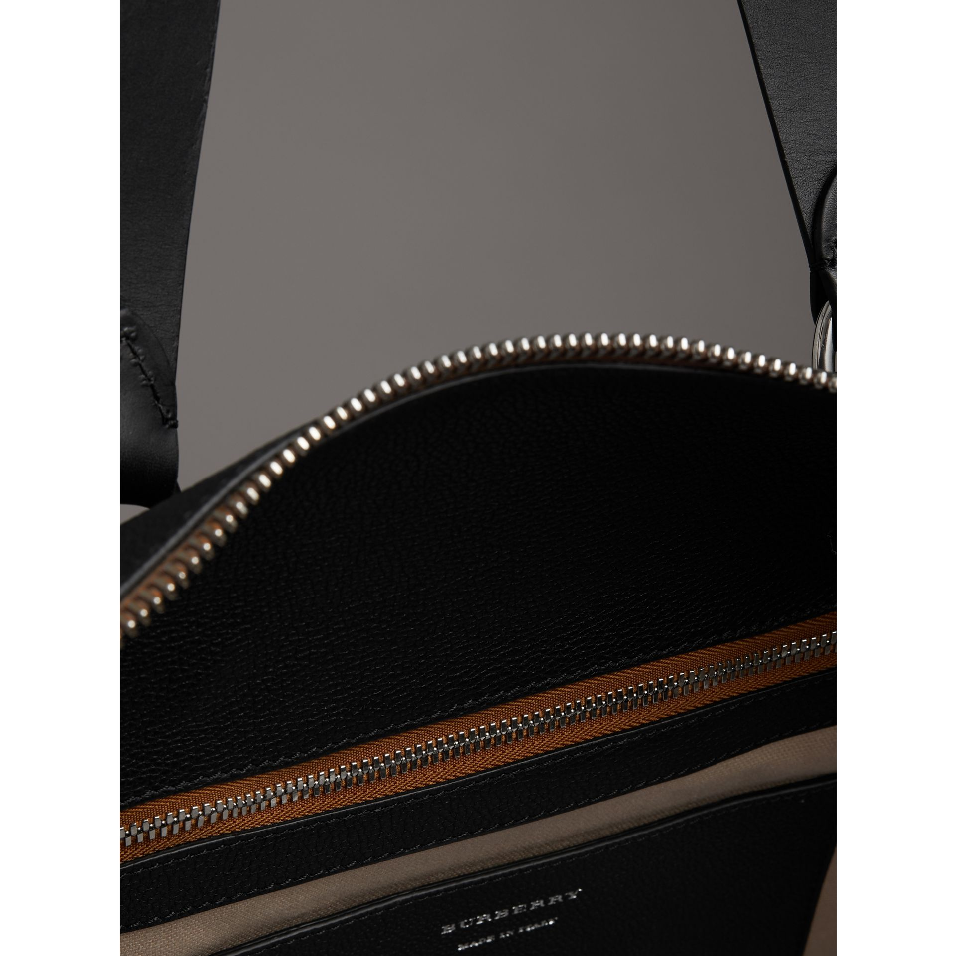 Embossed Grainy Leather Holdall in Black - Men | Burberry - gallery image 5
