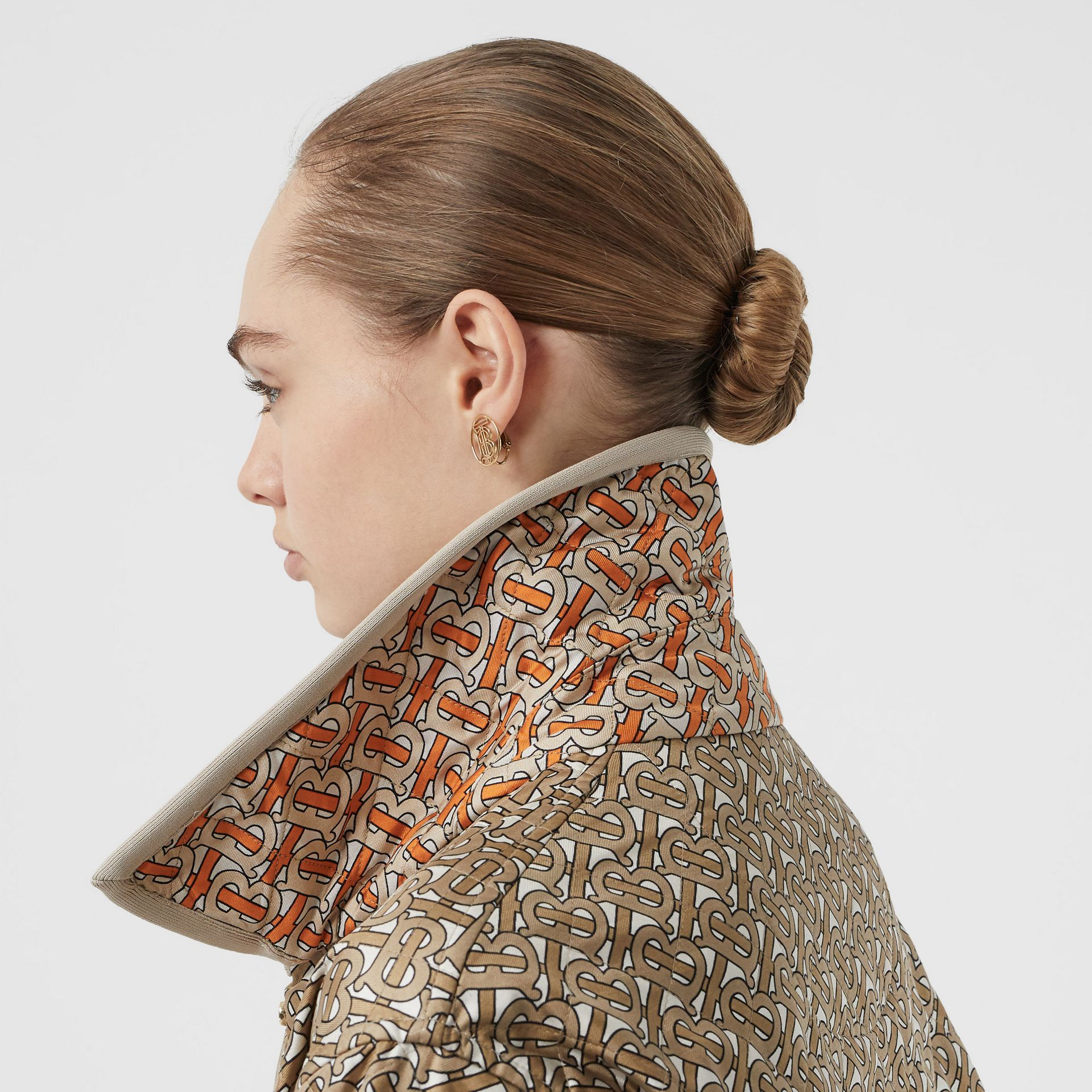 Monogram Print Quilted Silk Jacket in Archive Beige - Women | Burberry United States - gallery image 5