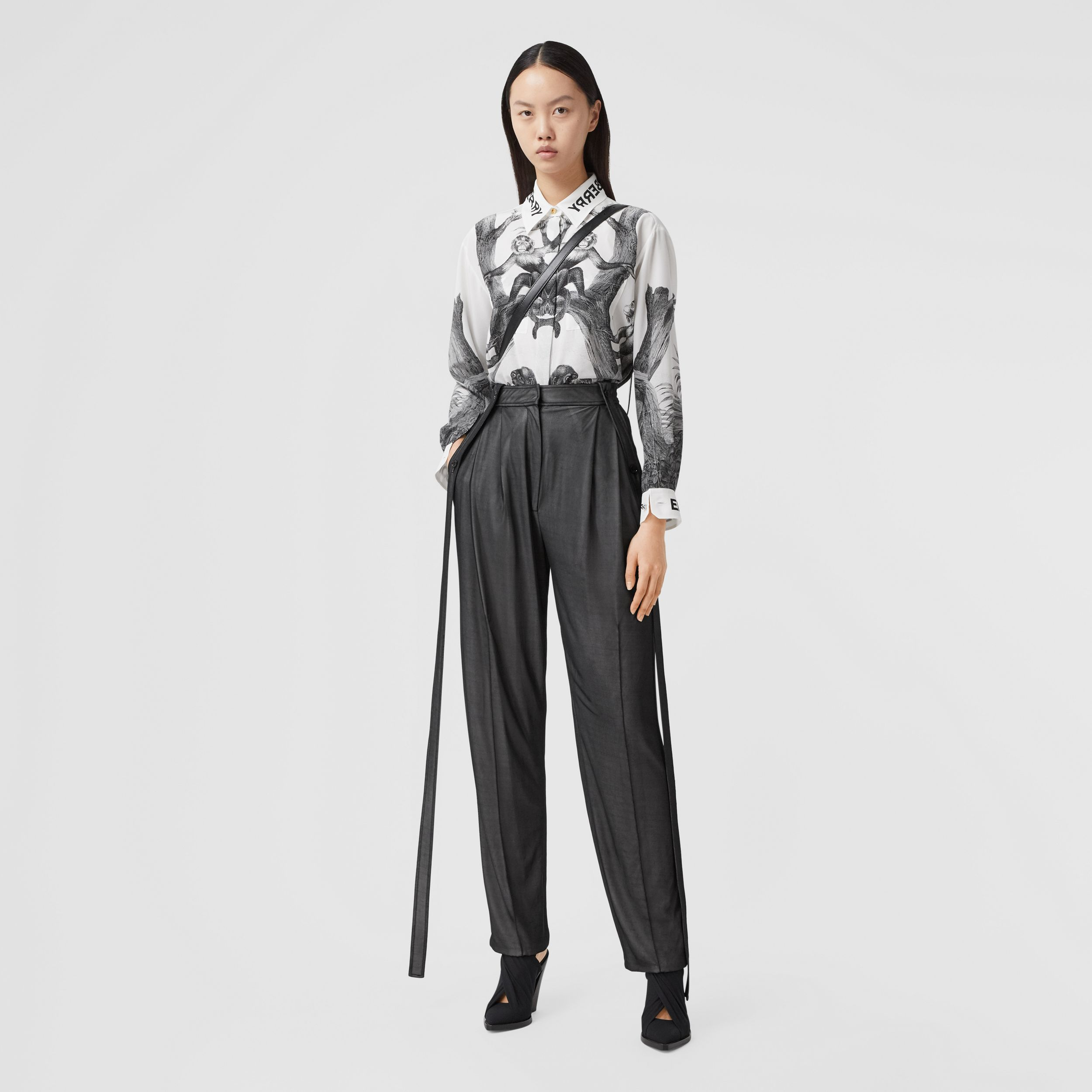 Strap Detail Chiffon and Jersey Tailored Trousers in Black - Women | Burberry - 1