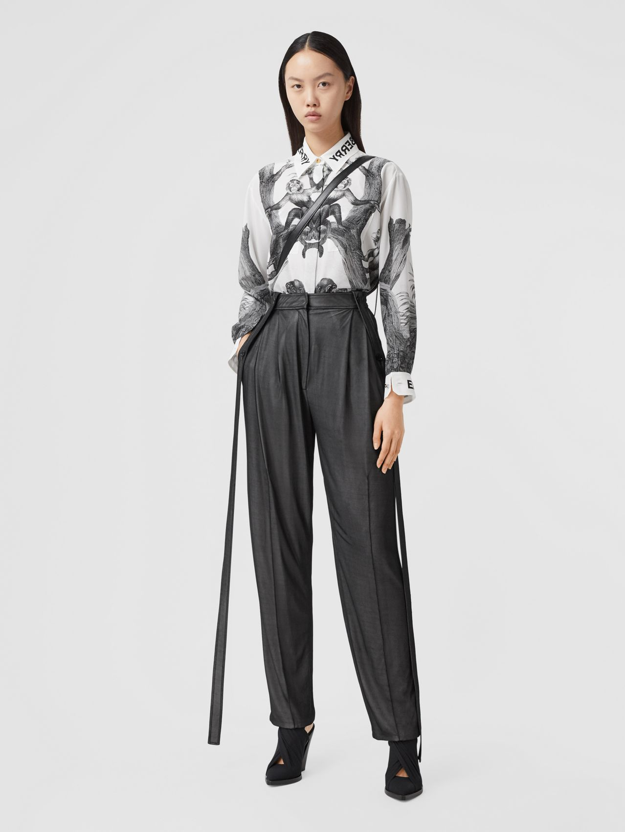 Strap Detail Chiffon and Jersey Tailored Trousers in Black