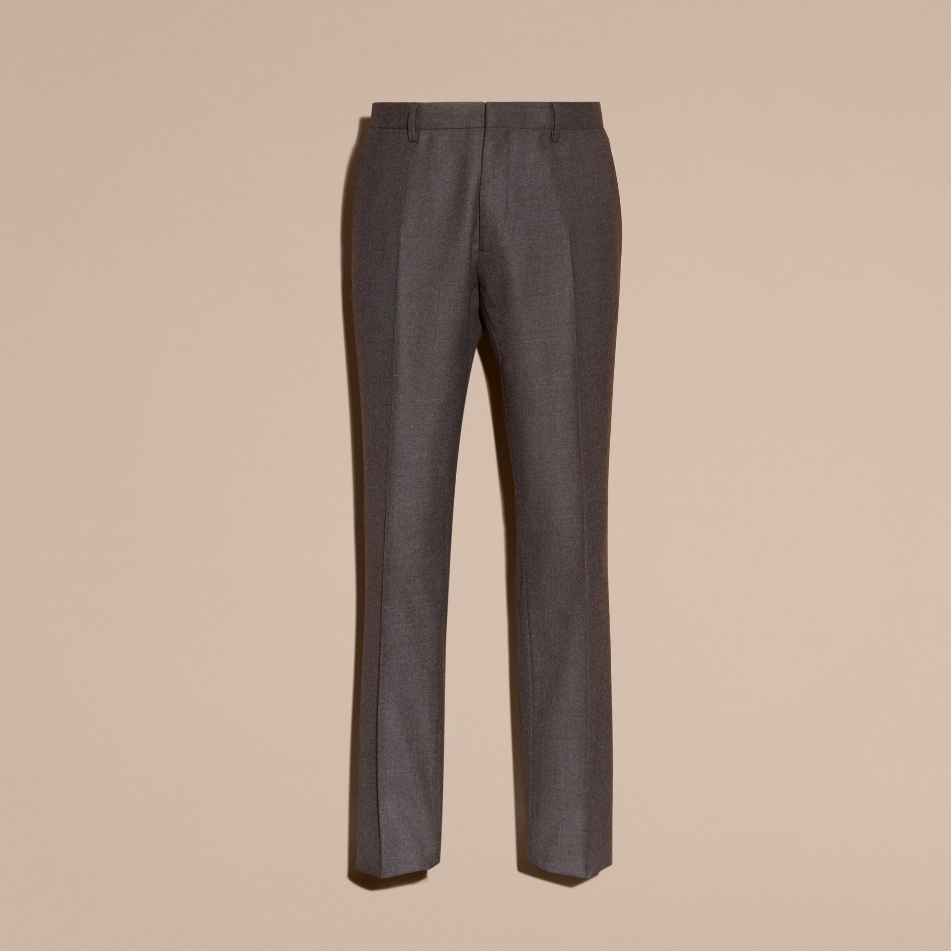 Dark grey melange Modern Fit Travel Tailoring Brushed Wool Trousers - gallery image 4