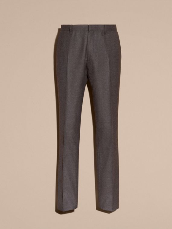 Dark grey melange Modern Fit Travel Tailoring Brushed Wool Trousers - cell image 3