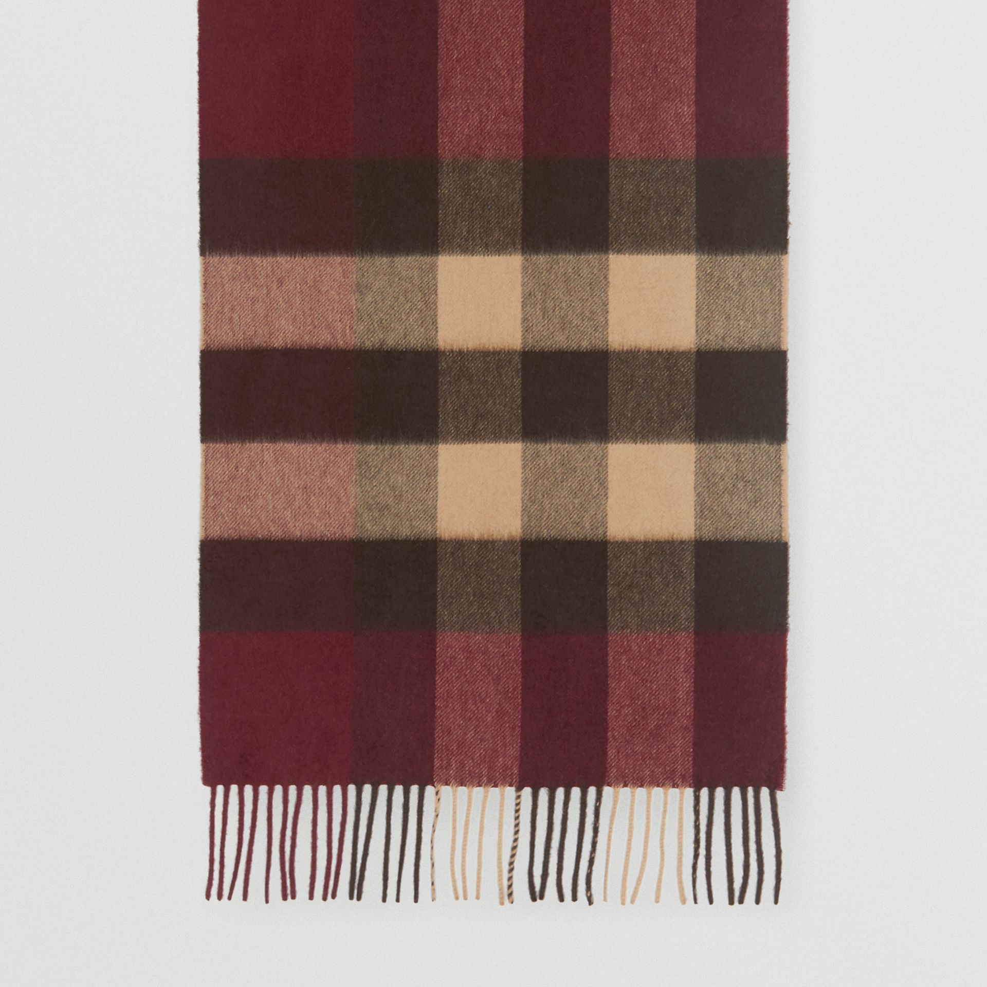Check Cashmere Scarf in Burgundy | Burberry United Kingdom - gallery image 4