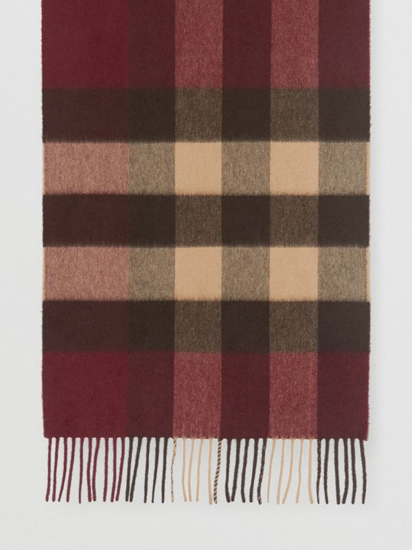 Check Cashmere Scarf in Burgundy | Burberry - cell image 3