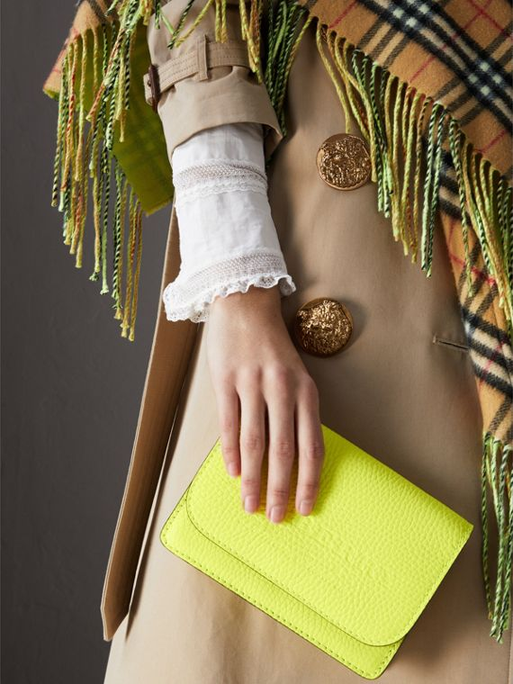 Embossed Leather Wallet with Detachable Strap in Bright Yellow - Women | Burberry Australia - cell image 3