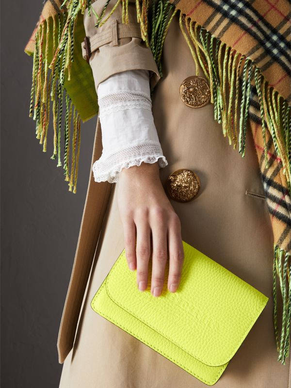 Embossed Leather Wallet with Detachable Strap in Bright Yellow - Women | Burberry United Kingdom - cell image 3