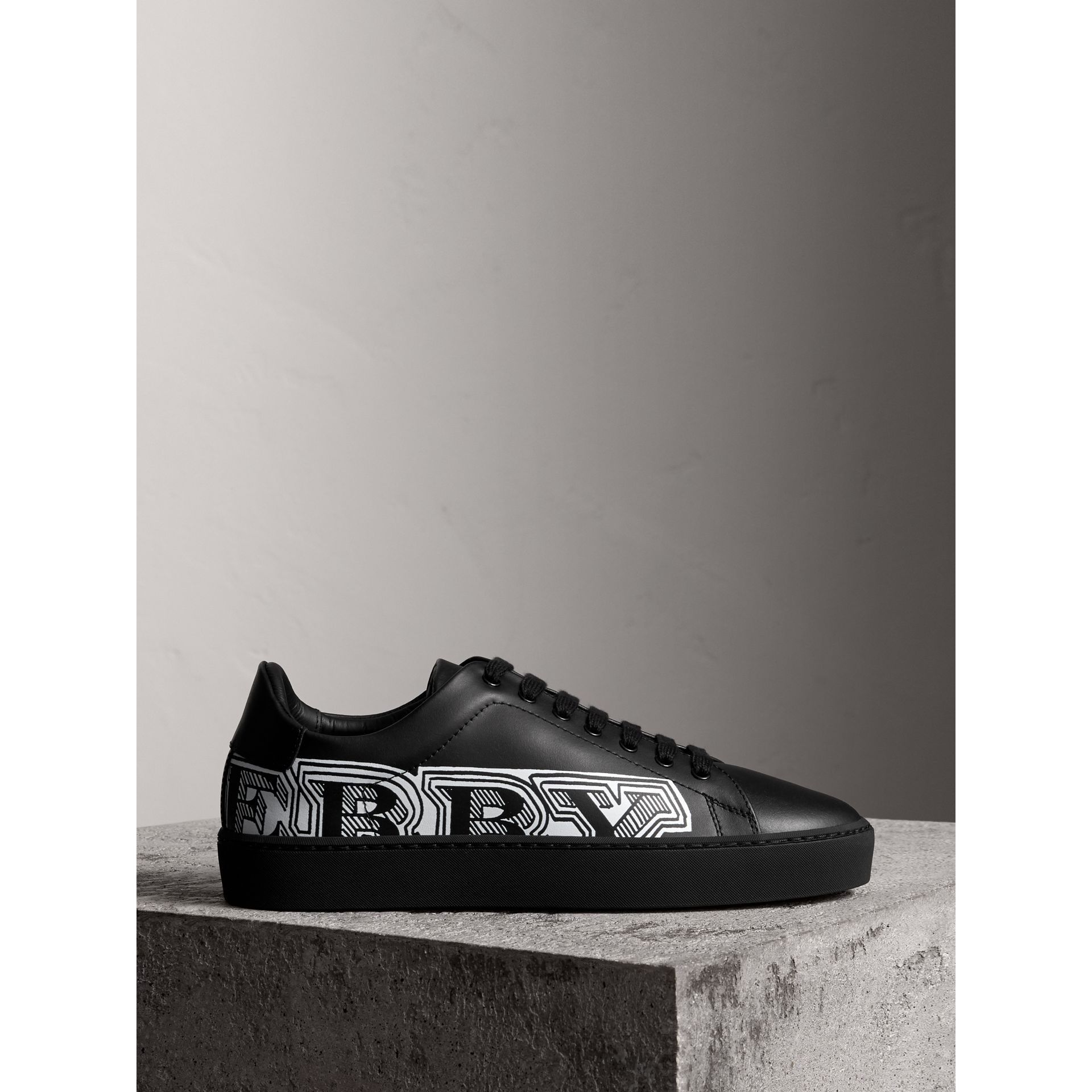 Doodle Print Leather Trainers in Black | Burberry - gallery image 5