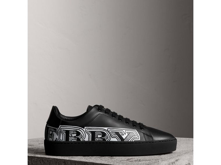 Doodle Print Leather Trainers in Black - Women | Burberry - cell image 4