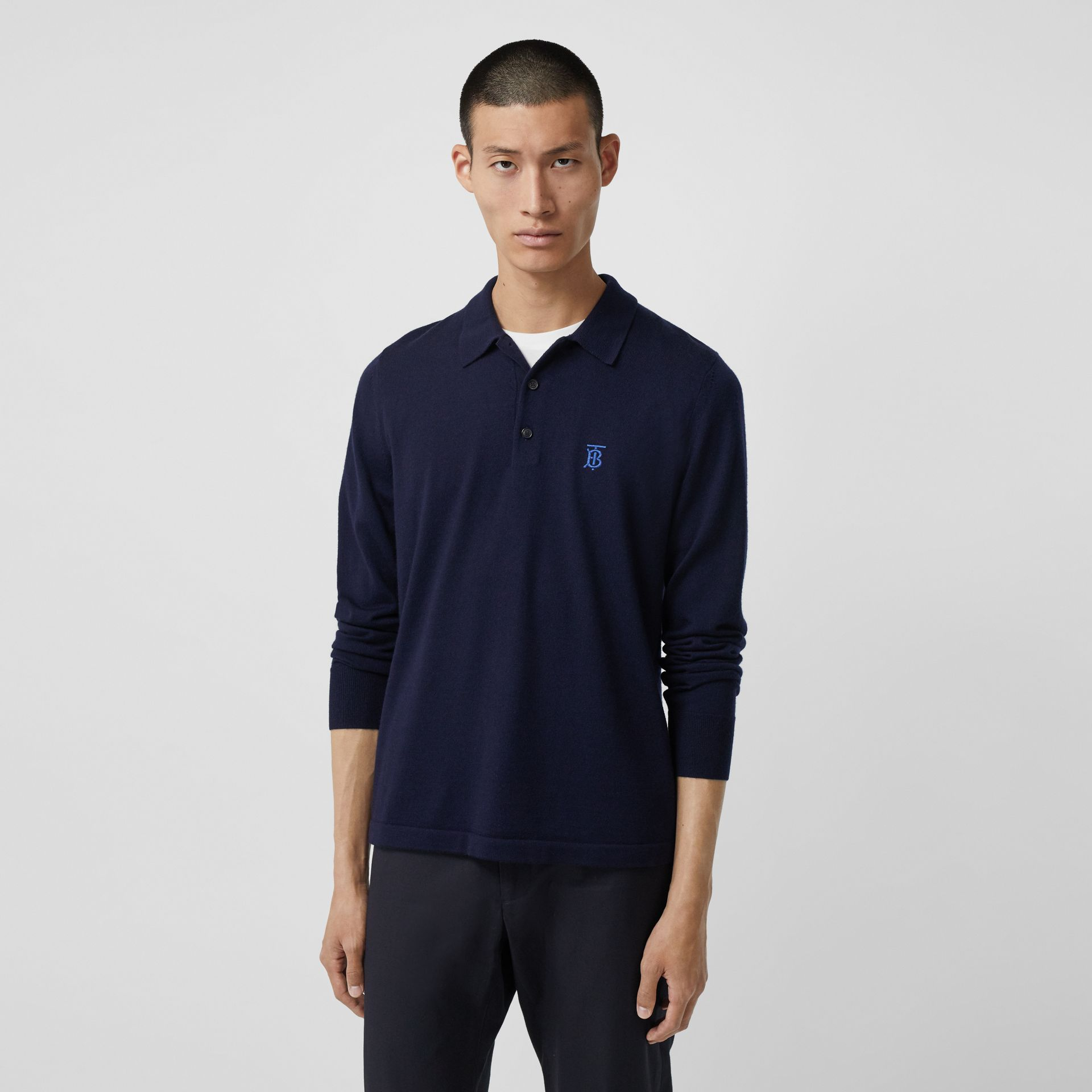 Long-sleeve Monogram Motif Merino Wool Polo Shirt in Navy - Men | Burberry - gallery image 4