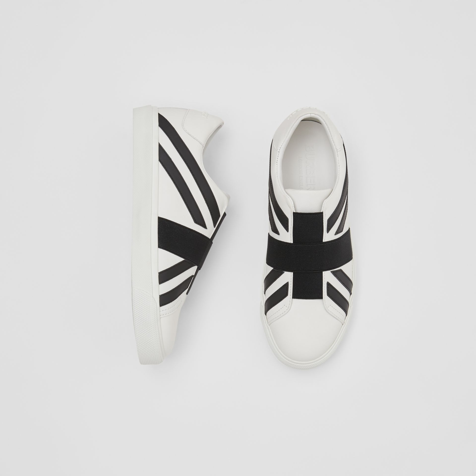 Union Jack Motif Slip-on Sneakers in Optic White/black - Women | Burberry Singapore - gallery image 0