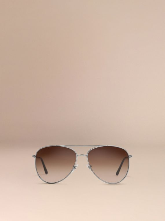 Nickel Check Arm Aviator Sunglasses Nickel - cell image 3