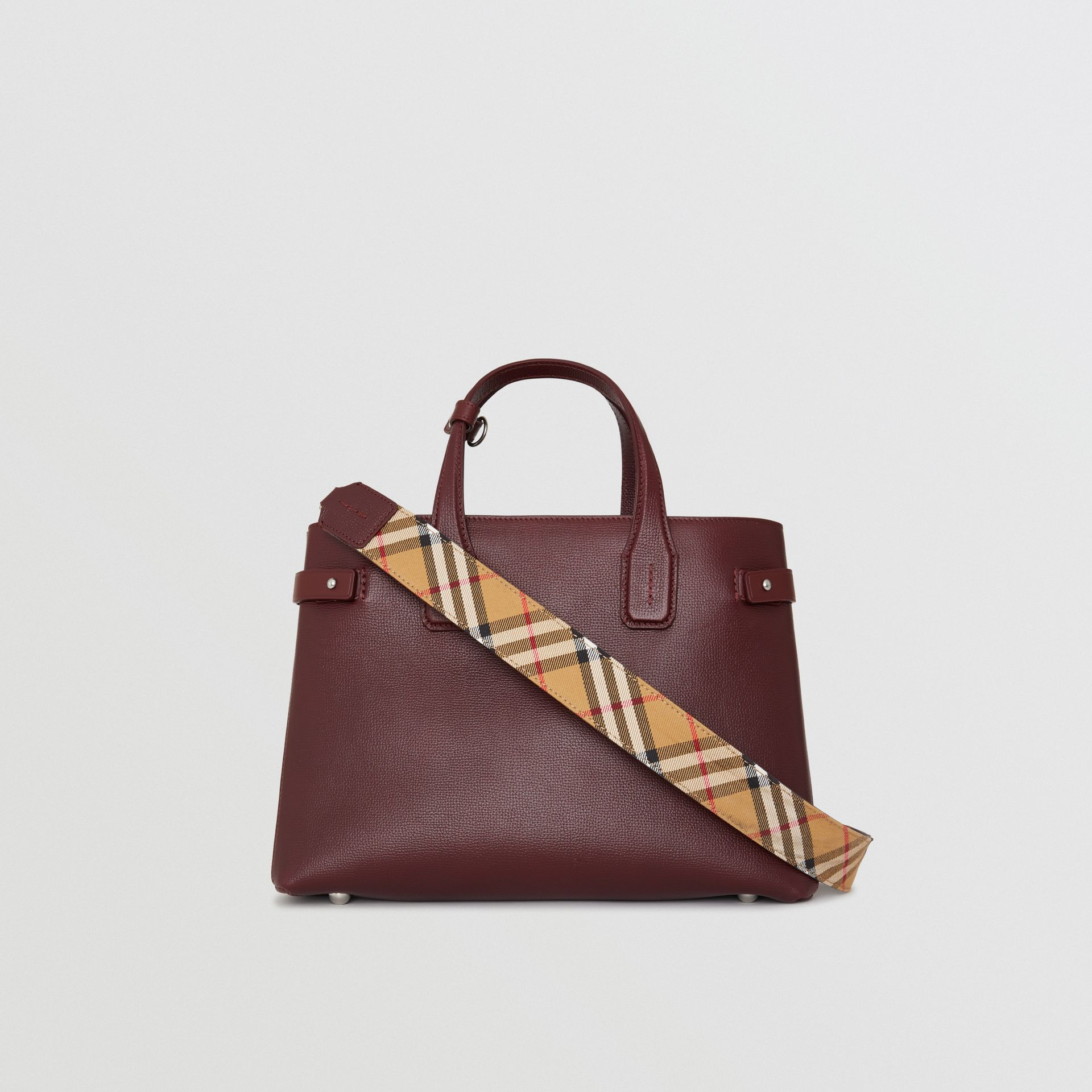 The Medium Banner in Leather and Vintage Check in Mahogany Red - Women | Burberry - gallery image 7
