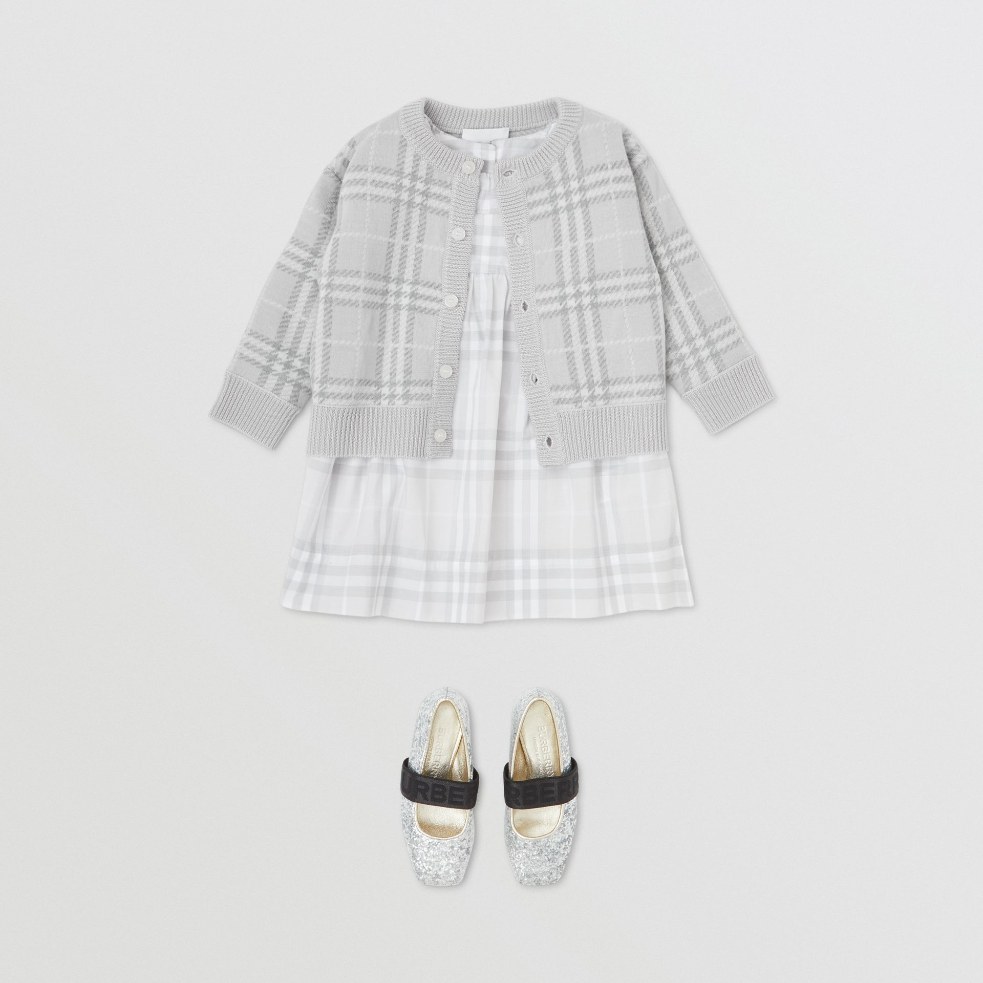 Check Merino Wool Jacquard Cardigan in Pale Grey - Children | Burberry - gallery image 2