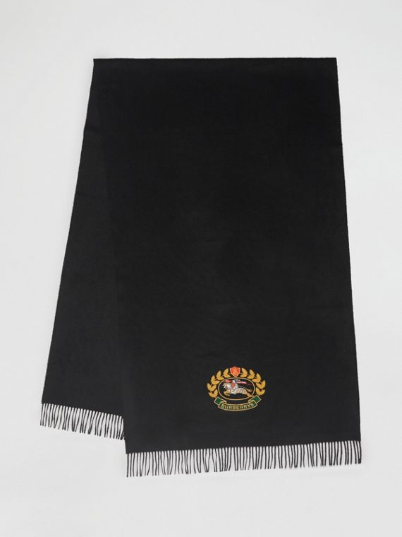 The Large Classic Cashmere Scarf with Archive Logo in Black
