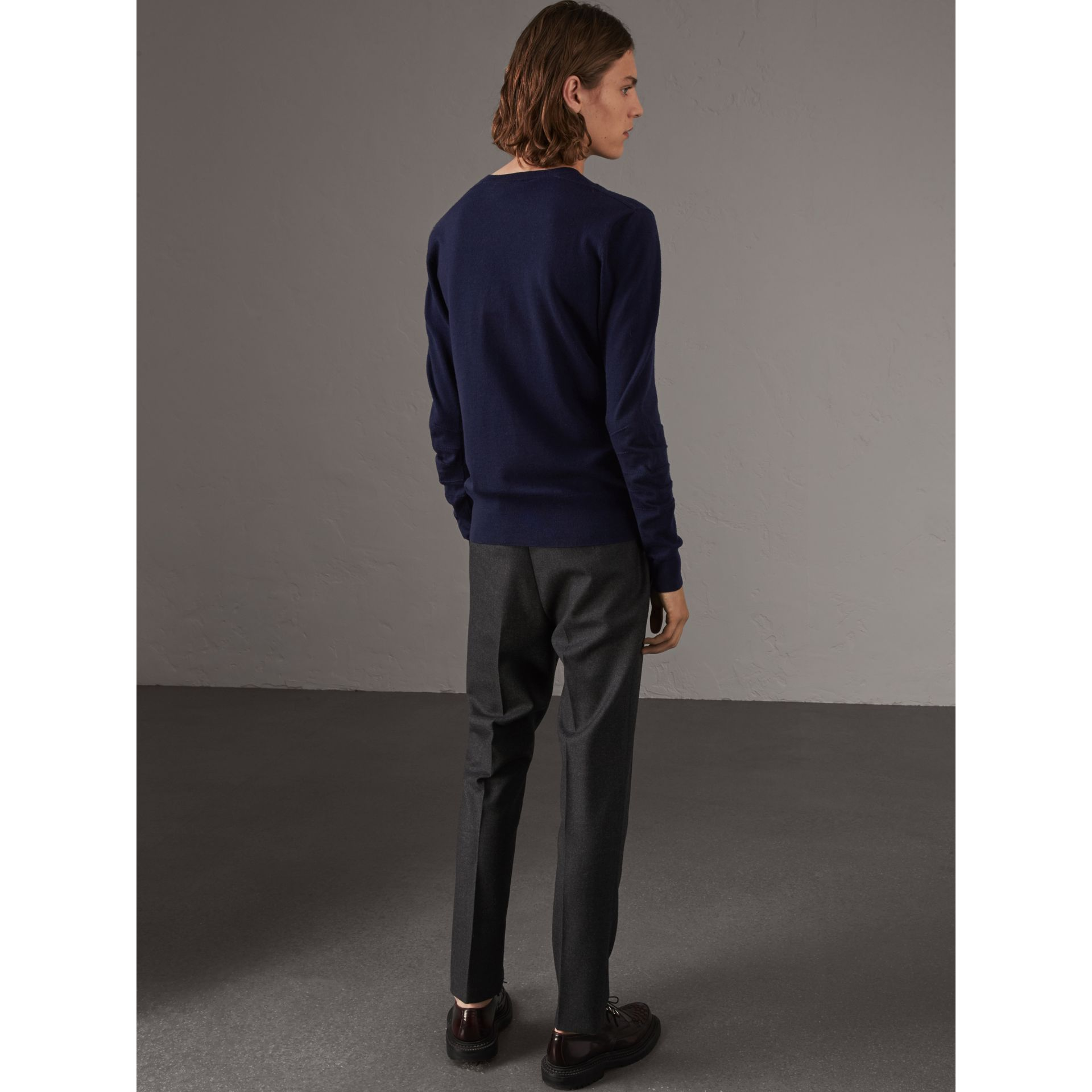 Check Detail Merino Wool V-neck Sweater in Navy - Men | Burberry - gallery image 3