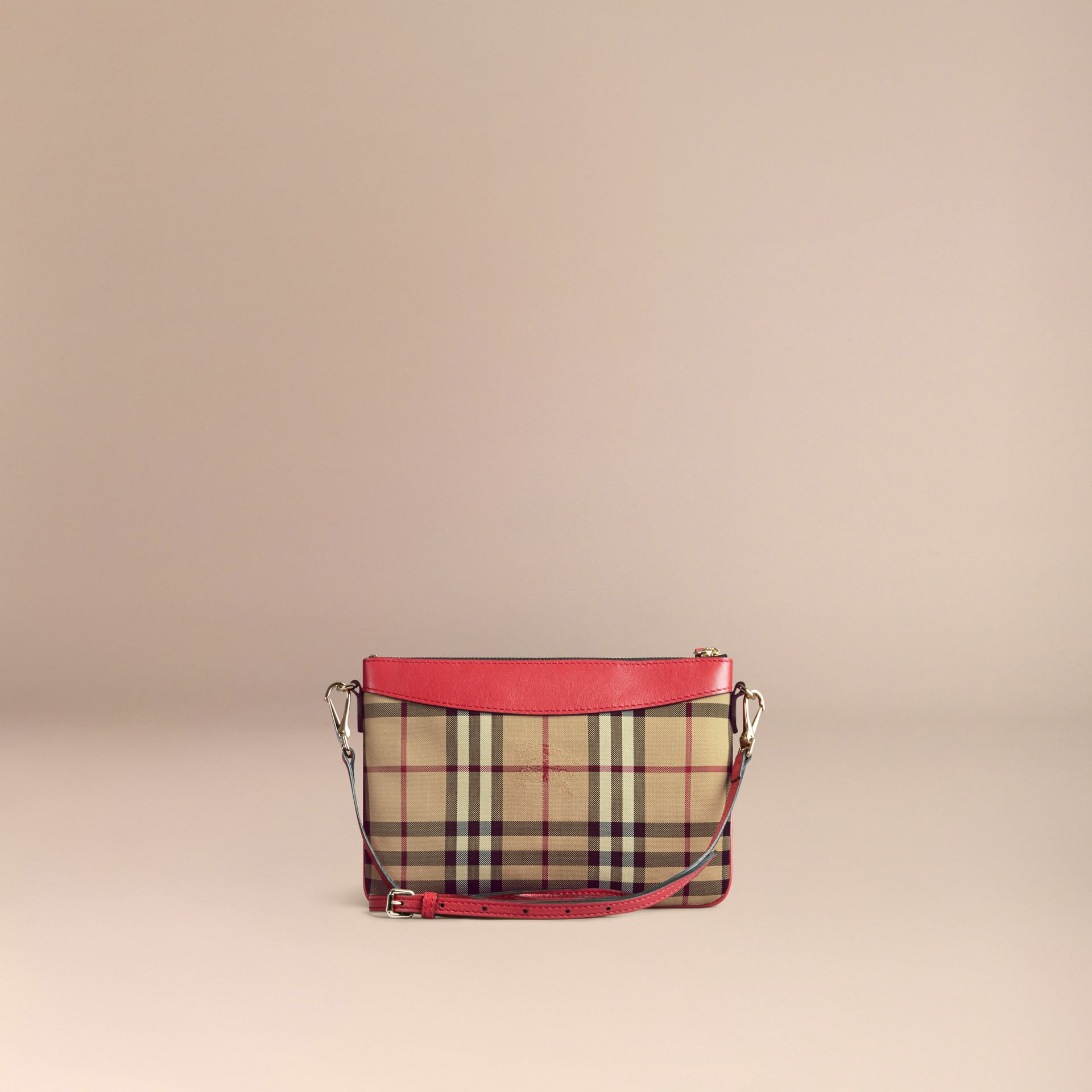 Horseferry Check and Leather Clutch Bag in Parade Red - gallery image 5