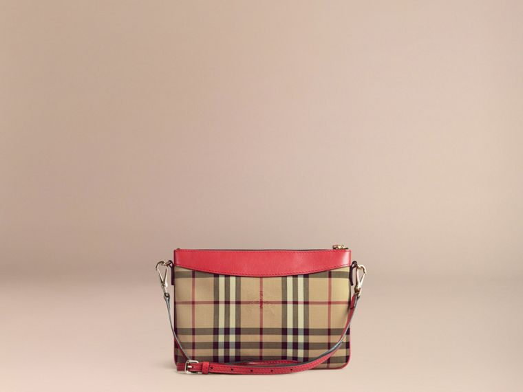 Horseferry Check and Leather Clutch Bag in Parade Red - Women | Burberry - cell image 4