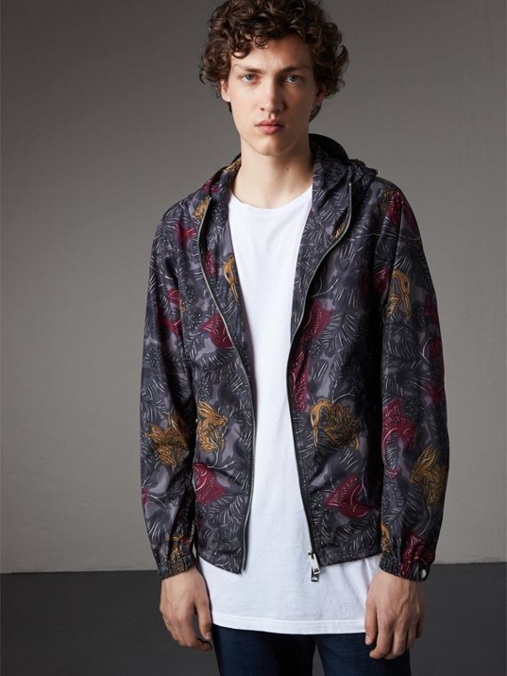 Beasts Print Super-lightweight Hooded Jacket in Navy Grey