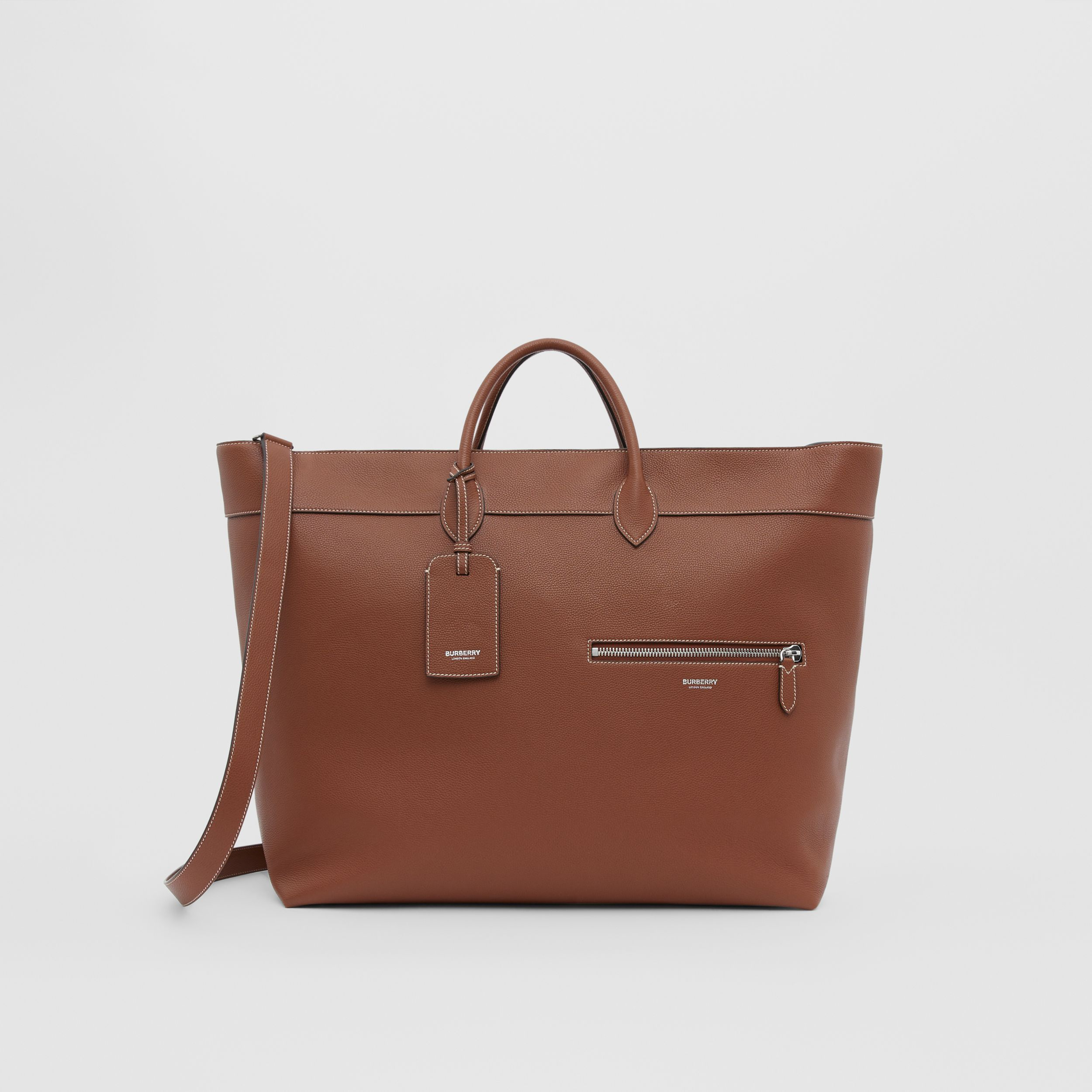 Grainy Leather Holdall in Tan - Men | Burberry - 1