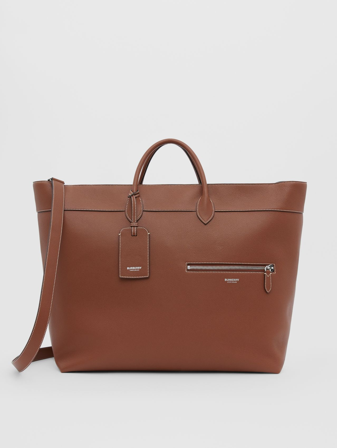 Grainy Leather Holdall in Tan