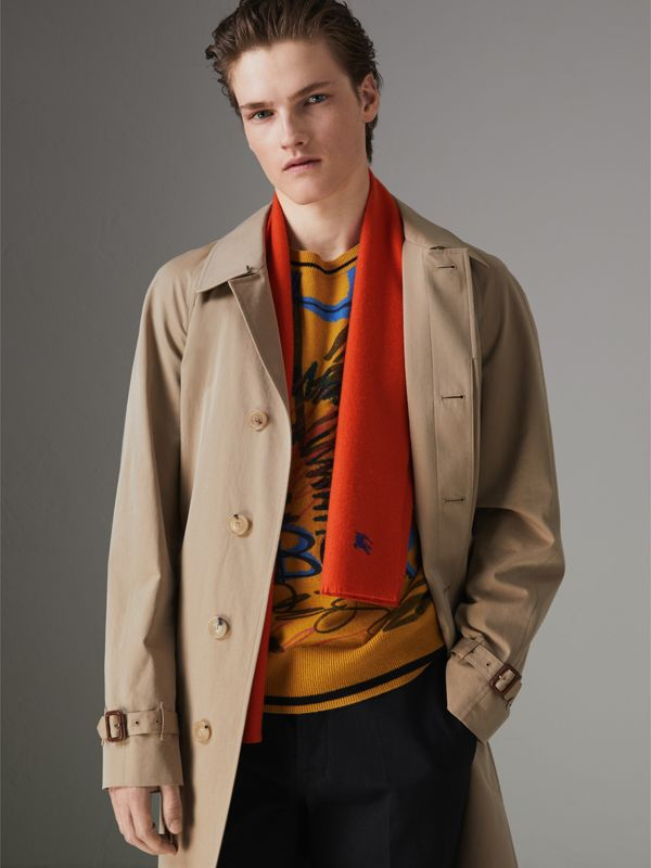 Embroidered Felted Wool Scarf in Clementine | Burberry Australia - cell image 3
