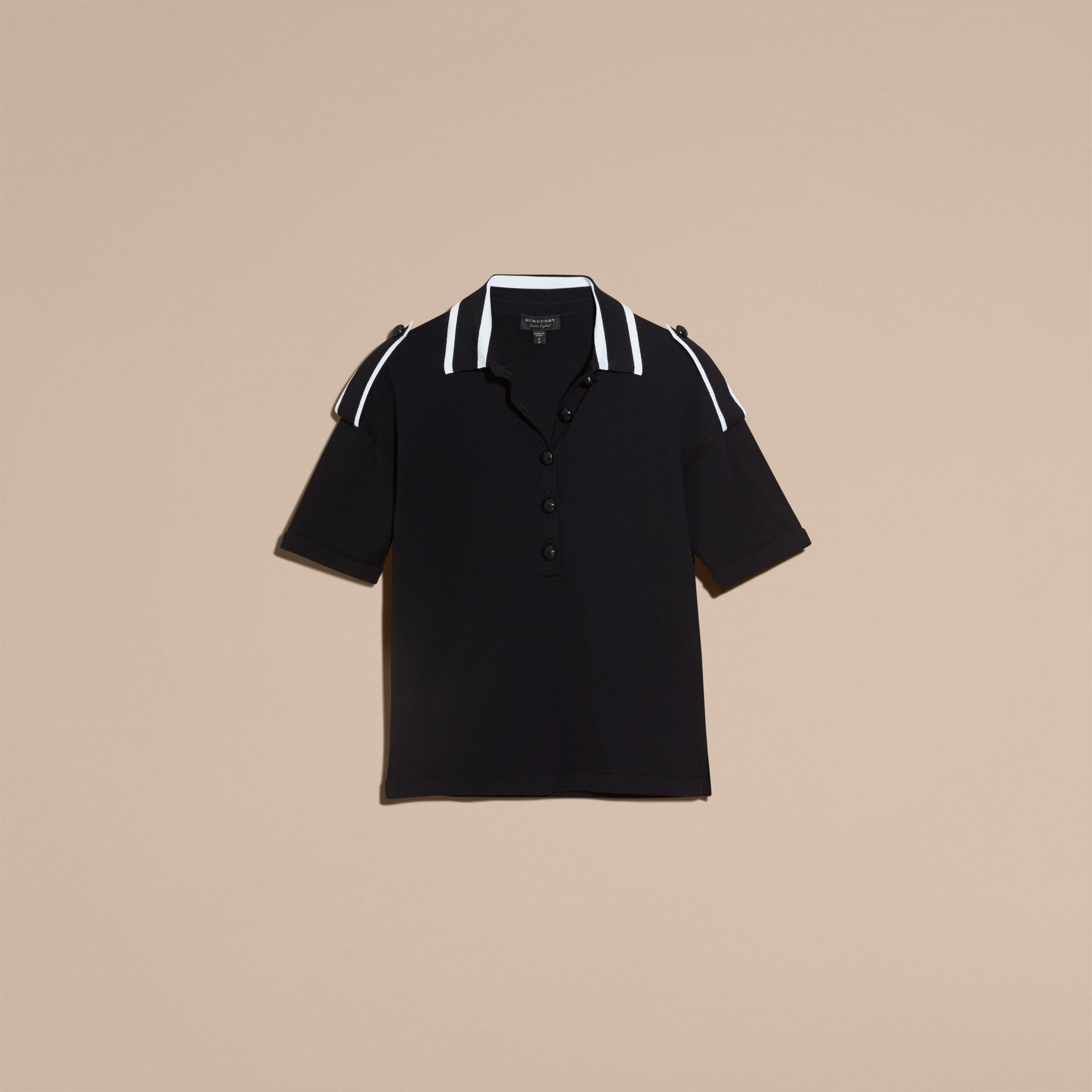 Black/white Striped Collar Wool Polo Shirt - gallery image 4
