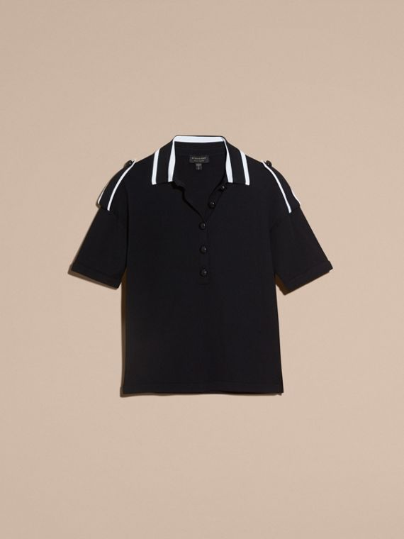 Black/white Striped Collar Wool Polo Shirt - cell image 3