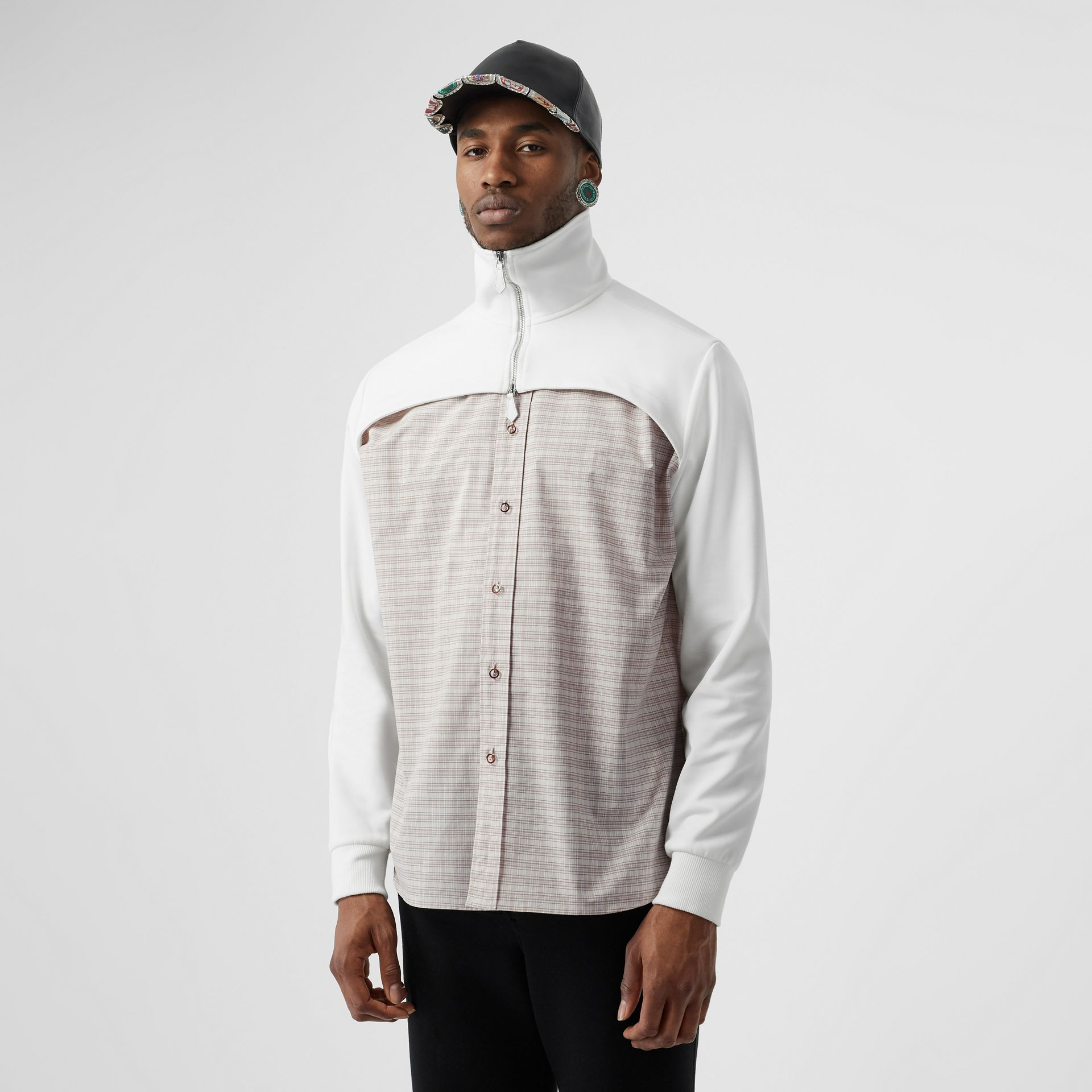 Track Top Detail Small Scale Check Cotton Shirt in Beige/natural White - Men | Burberry - gallery image 0