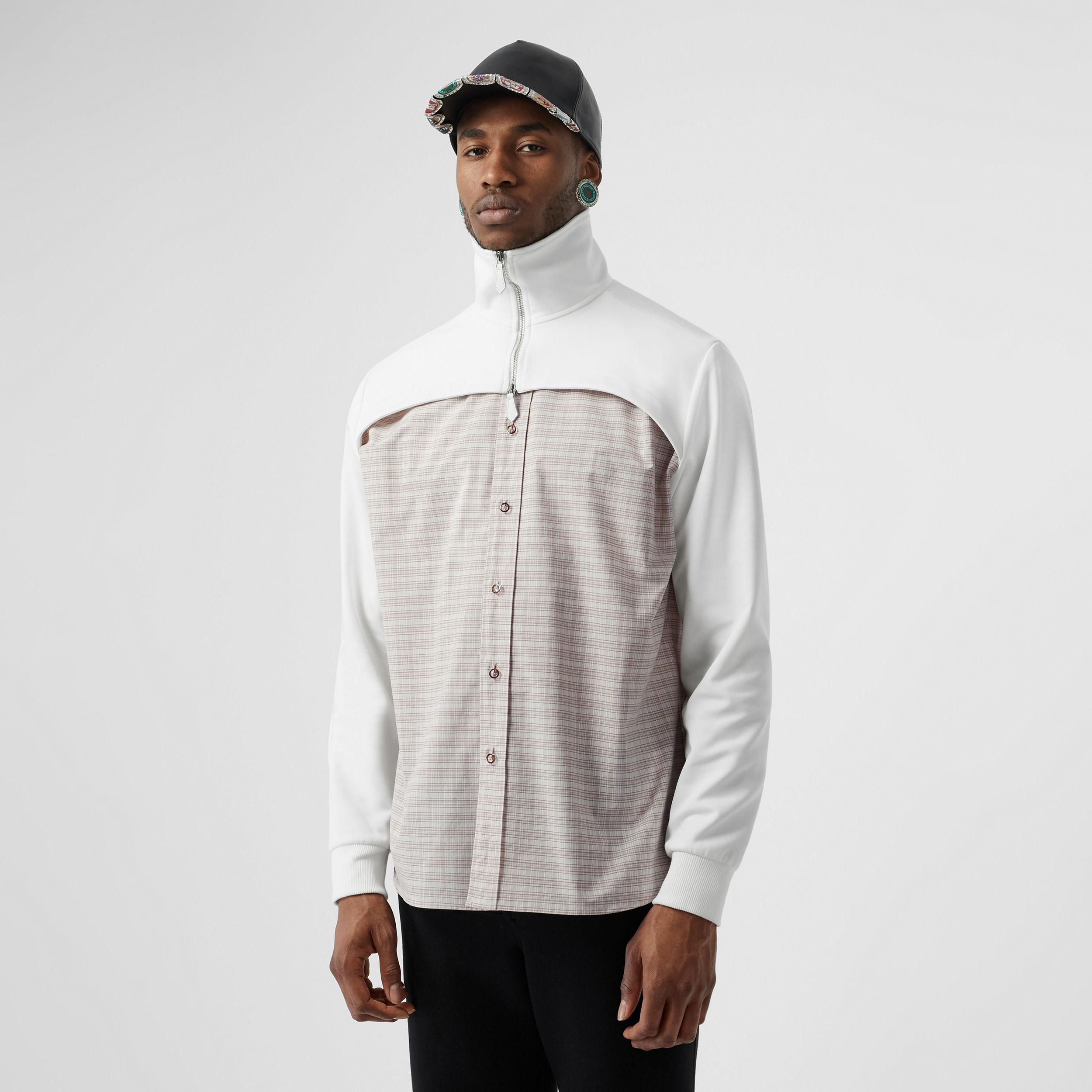 Track Top Detail Small Scale Check Cotton Shirt in Beige/natural White - Men | Burberry - 1