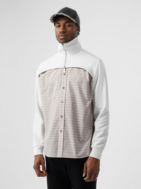 Track Top Detail Small Scale Check Cotton Shirt in Beige/natural White