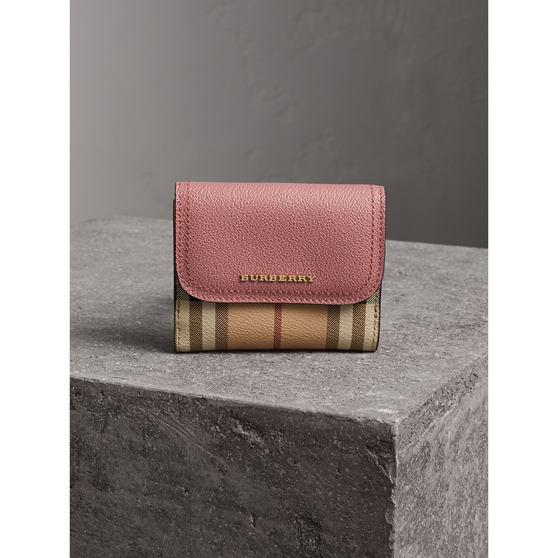 Haymarket Check and Leather Wallet in Dusty Pink/multicolour - Women | Burberry - gallery image 5