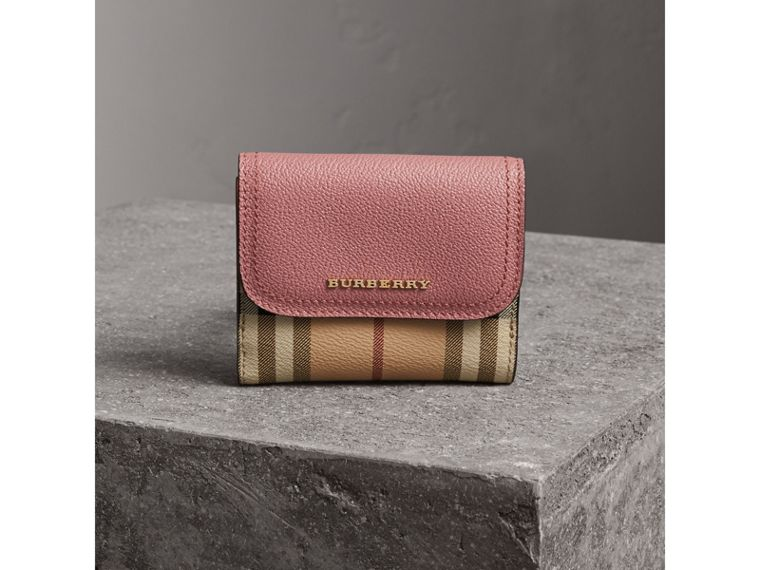 Haymarket Check and Leather Wallet in Dusty Pink/multicolour - Women | Burberry - cell image 4