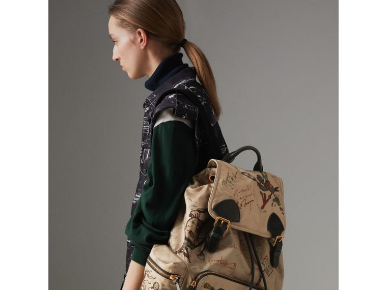 The Large Rucksack in Sketch Print Nylon in Honey | Burberry - cell image 4