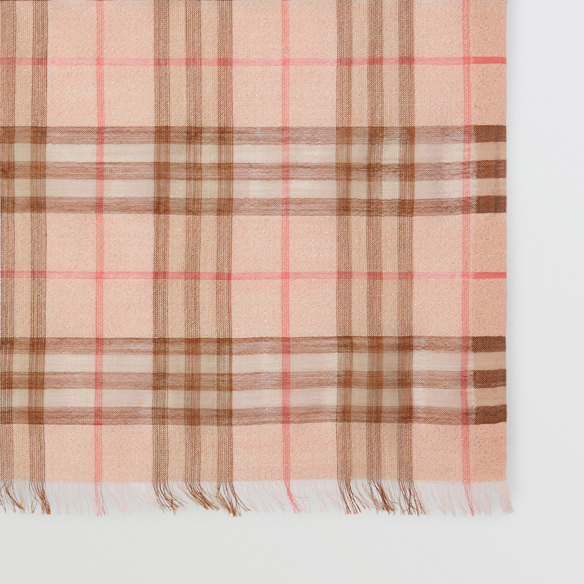 Metallic Check Wool Silk Blend Scarf in Ice Pink - Women | Burberry - gallery image 1
