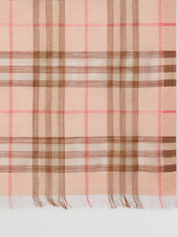 Metallic Check Wool Silk Blend Scarf in Ice Pink - Women | Burberry - cell image 1