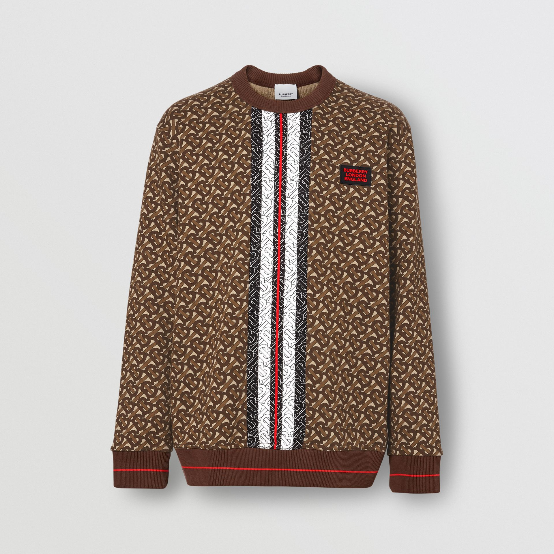 Monogram Stripe Print Cotton Sweatshirt in Bridle Brown - Men | Burberry - gallery image 3
