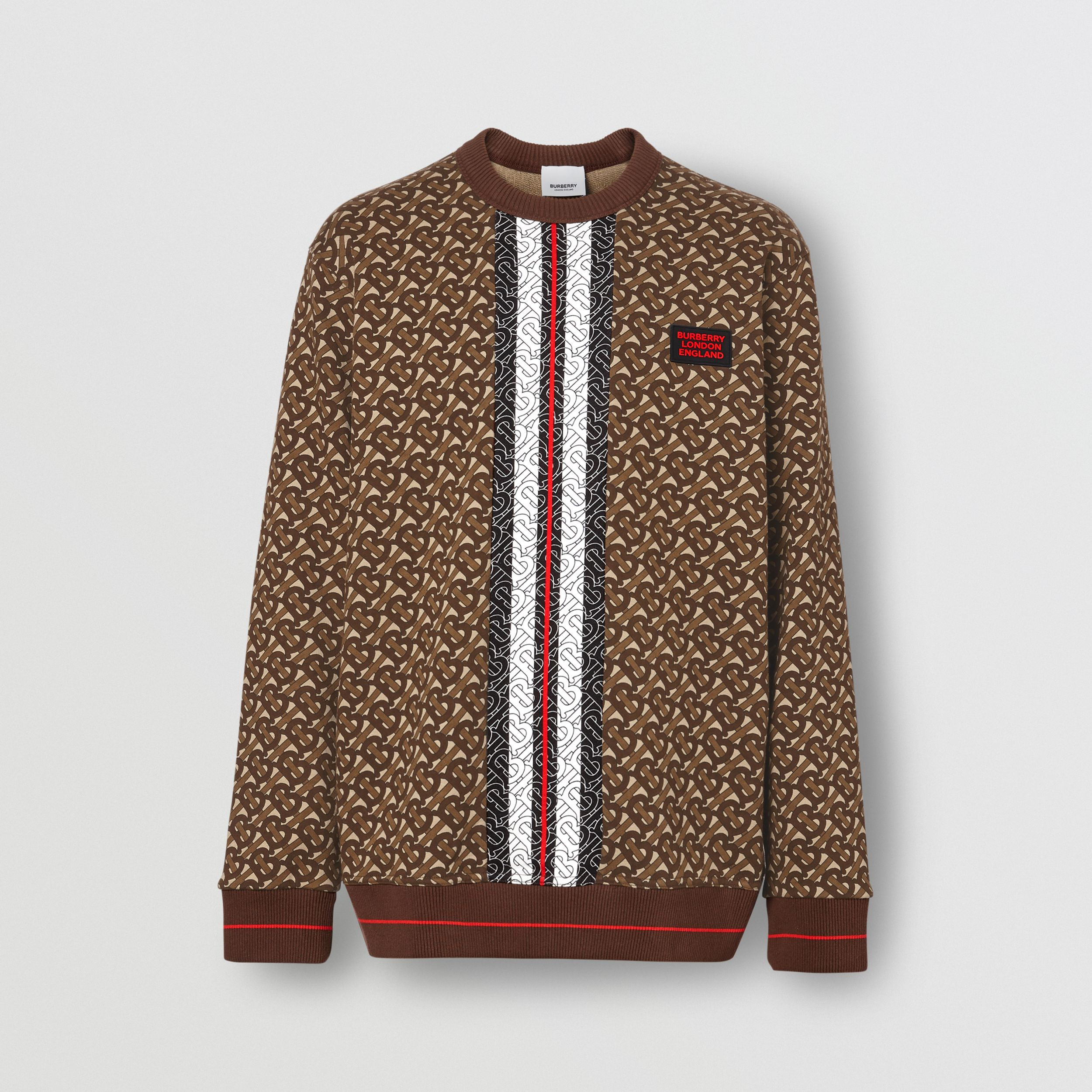 Monogram Stripe Print Cotton Sweatshirt in Bridle Brown - Men | Burberry - 4