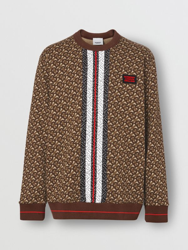 Monogram Stripe Print Cotton Sweatshirt in Bridle Brown - Men | Burberry - cell image 3