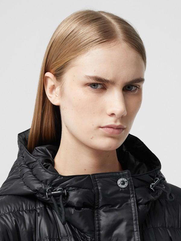 Logo Tape Lightweight Hooded Puffer Coat in Black - Women | Burberry United Kingdom - cell image 3