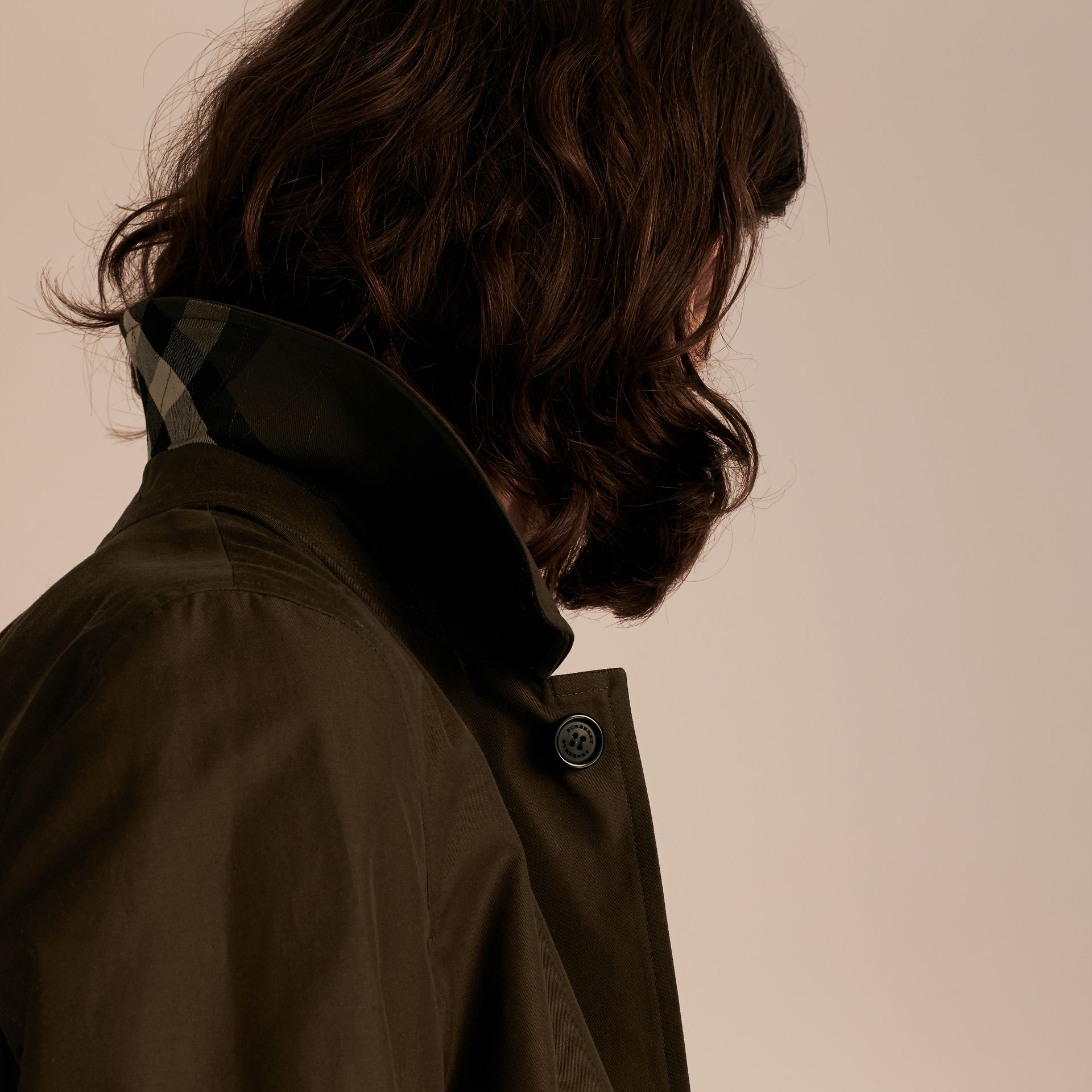 Dark khaki green Cotton Gabardine Car Coat Dark Khaki Green - gallery image 5