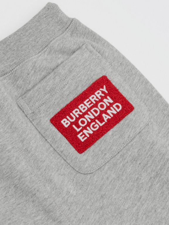 Logo Detail Cotton Trackpants in Grey Melange | Burberry Australia - cell image 1