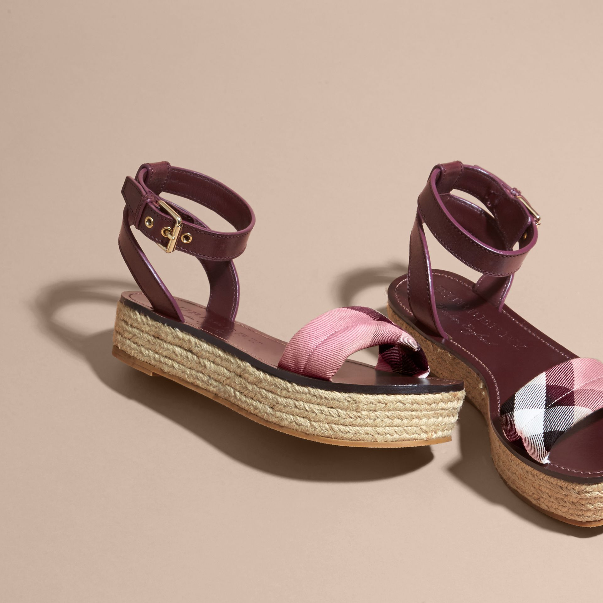 Leather and House Check Espadrille Platform Sandals in Cerise Purple - gallery image 4