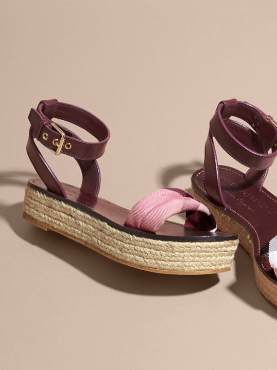 Leather and House Check Espadrille Platform Sandals in Cerise Purple - cell image 3