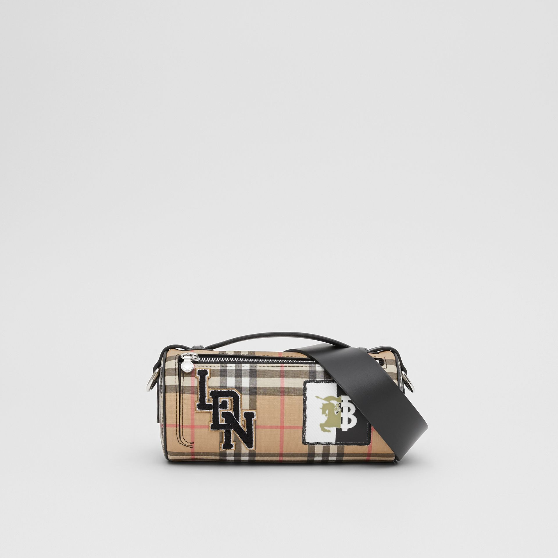 The Vintage Check E-canvas and Leather Barrel Bag in Archive Beige - Women | Burberry United States - gallery image 0